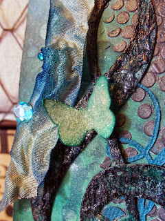 tag, handmade, custom, scrapbooking, paper crafts, crinkle ribbon, flowers, mixed media, pearls, quartz, jewels, gems, bling, silver, aqua, teal, turquoise, flute, flute choir, music, treble clef, music note, eighth note, lace, distress ink, Tim Holtz, Marion Smith Designs, Color Lab, Heidi Swapp, Color Shine, Perfect Pearls, PearlEx, Tattered Angles, Lindy's Stamp Gang, Prima Marketing, gesso, stenciling, misting, inking, distress crackle, Gelatos, Faber Castell, embossing powder, Alice Scraps Wonderland