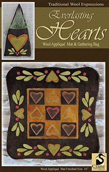 "Everlasting Hearts Wool Applique Tablemat (16"") & Gathering Bag"