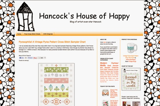 hancock's house of happy: Pyrexophilia! A Vintage Pyrex Pattern Cross Stitch Sampler Chart
