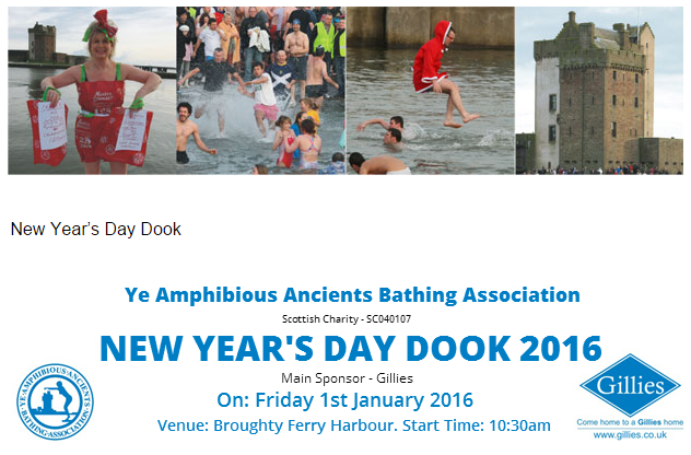 YAABA New Year's Day Dook 2016 Broughty Ferry Harbour