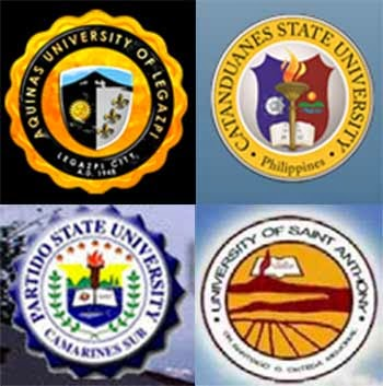 Aquinas University, Catanduanes State University, Partido State University, University of Saint Anthony