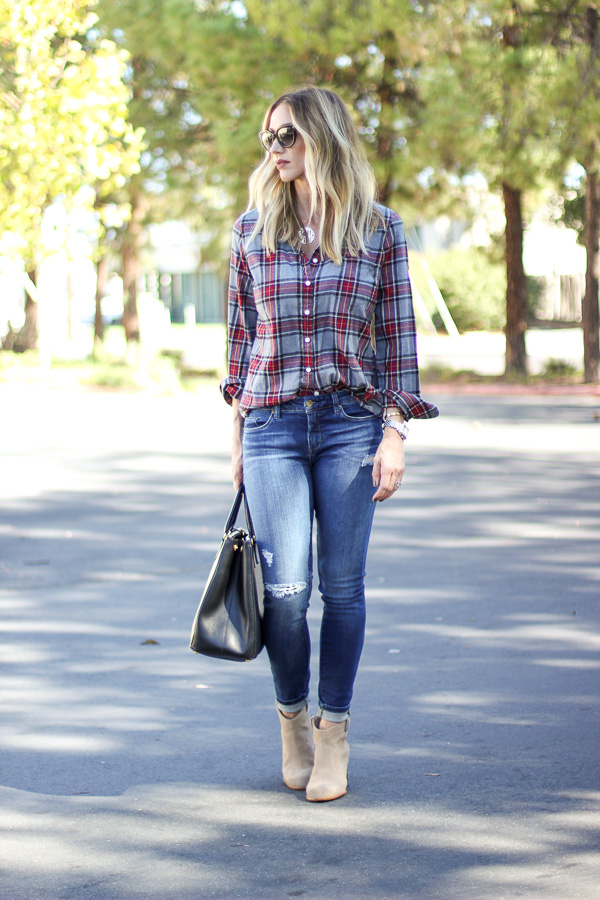 fall style plaid with booties parlor girl