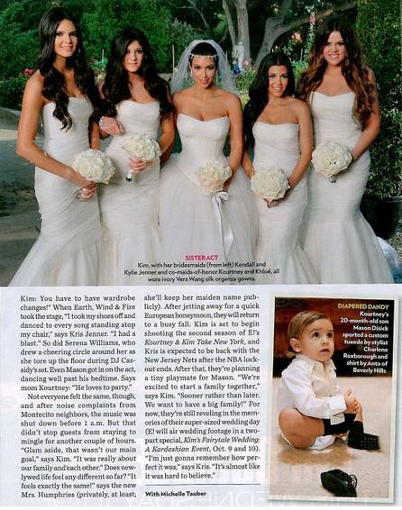 Kendall, Kyle, Kim, Kourtney e Khloe, as 5 irmãs Kardashian e Mason, o filho de Kourt, que levou as alianças ao altar.