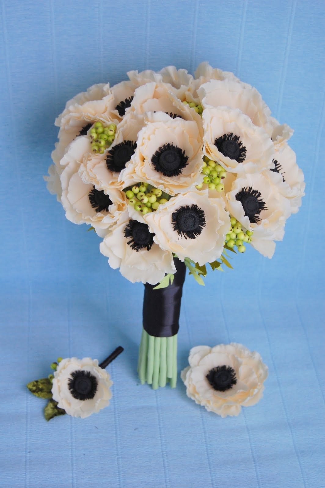 Anemone wedding bouquet paper flower bouquet handmade paper anemone wedding bouquet izmirmasajfo Image collections