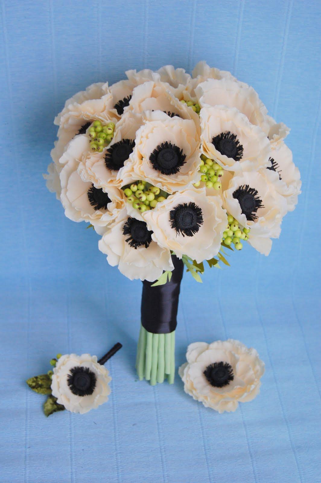 anemone wedding bouquet paper flower bouquet
