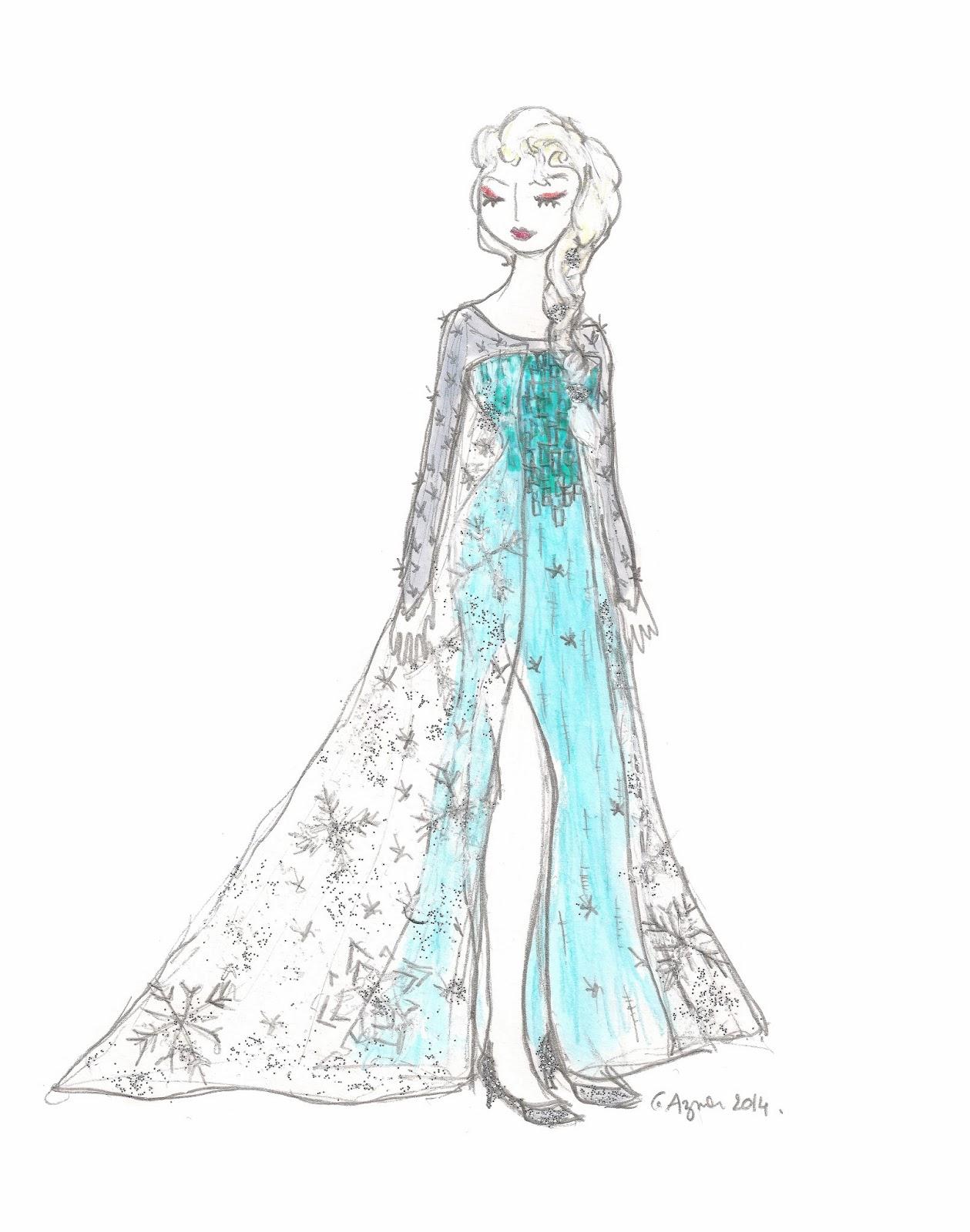 Le blog de gabrielle aznar fan art anna et elsa la reine des neiges carnet de croquis - La reine elsa ...