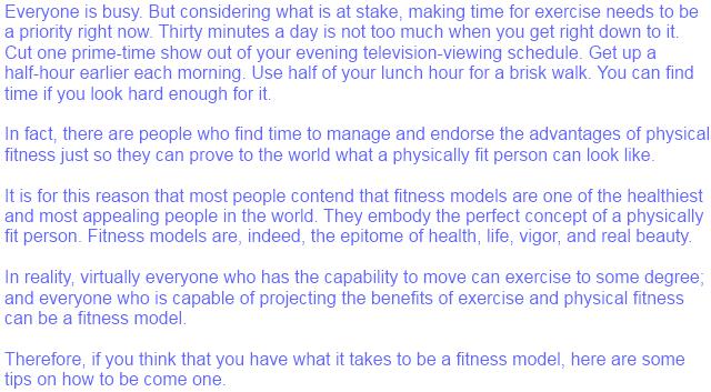 fitness model tips