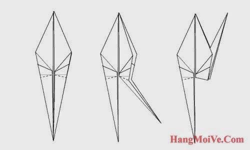 Bước 10: Từ hình 1 ta gấp cạnh đáy phía dưới bên phải ra ngoài (hình 2) để tạo thành đuôi hạc giấy như hình 3.