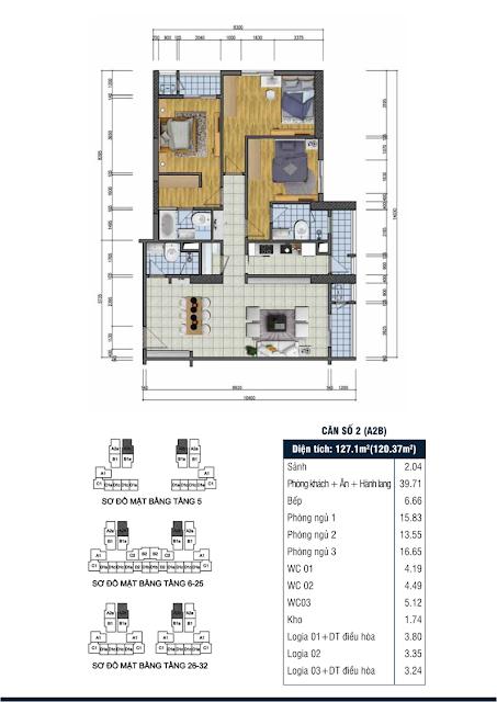 Thiết kế căn hộ số 2 - Chung cư Goldsilk Complex Vạn Phúc