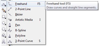 Mengenal bagian CorelDRAW - Freehand Tool