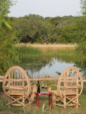 chairs by the pond with wine on a table
