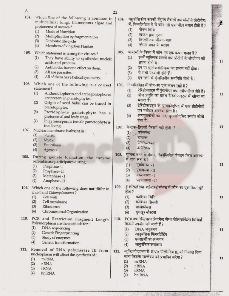 AIPMT 2012 Exam Question Paper Page 22