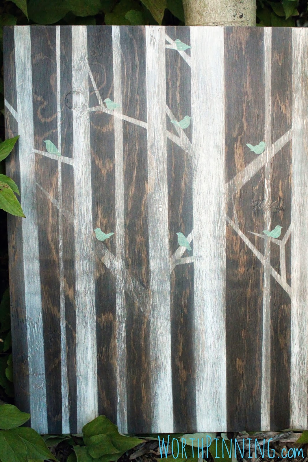 Worth Pinning Birds And Trees Painting On Stained Wood