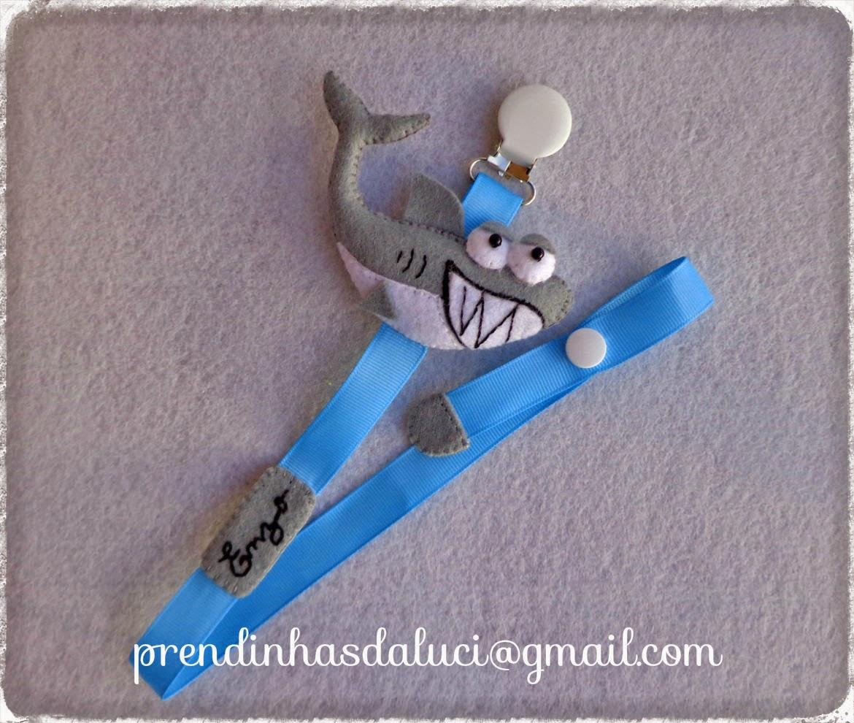 fita para chupeta tubarão em feltro