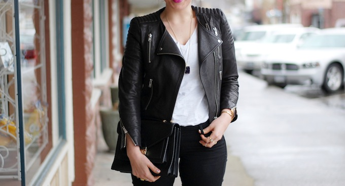 H&M Icons leather jacket Vancouver fashion blogger Aleesha Harris Covet and Acquire