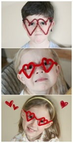 Heart glasses, a lovely wearable Valentine's craft