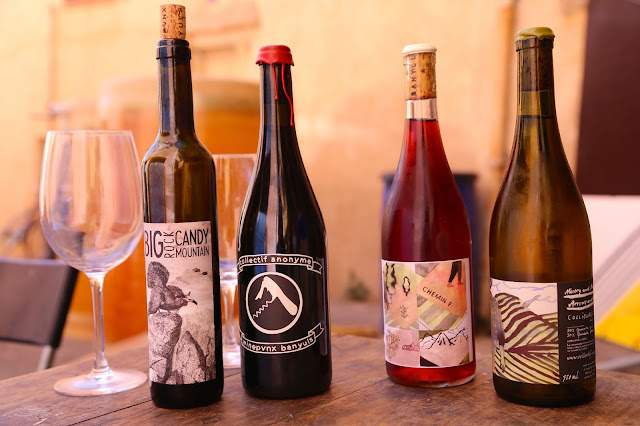 The range of Natural wines from Wine pvnx/collectif anonyme, Port Vendres, France. Natural wine makers