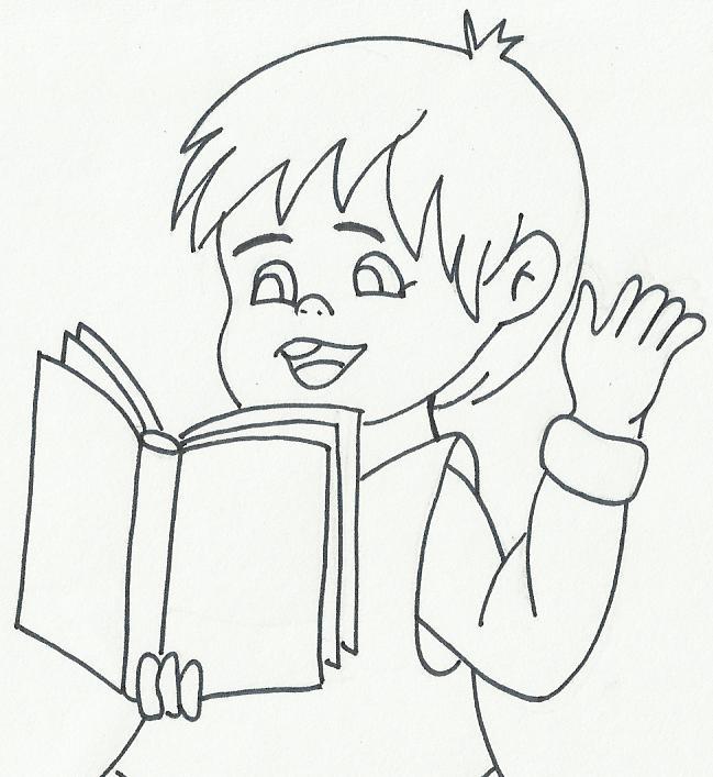 Dibujos de niños leyendo y escribiendo para colorear - Imagui
