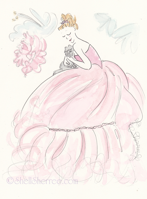 Fashion and Fluffballs illustration: Pink Fluffy Petal Pies © Shell-Sherree