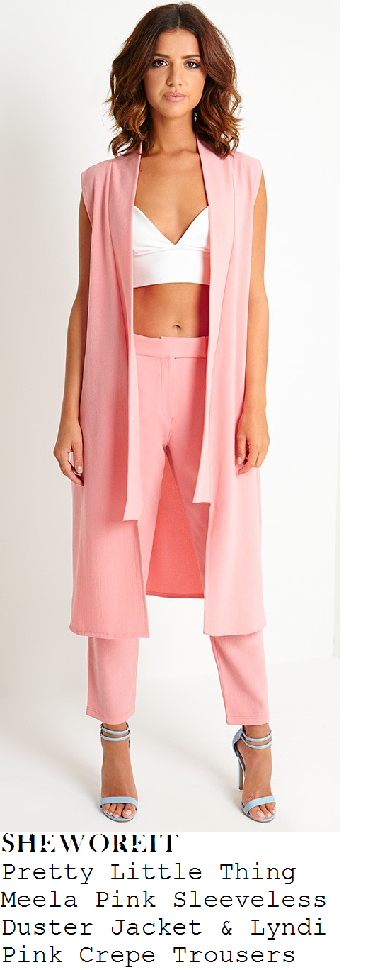 lucy-mecklenburgh-pink-sleeveless-duster-jacket-and-trousers-co-ords