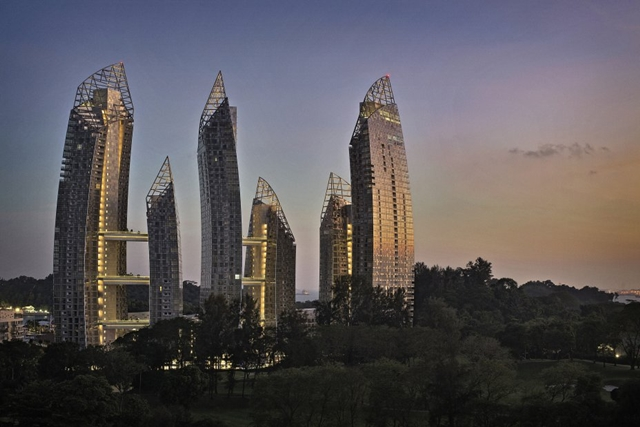 Reflections at Keppel Bay by Studio Daniel Libeskind at sunset