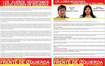 DECLARACION DEL PARTIDO OBRERO en el FRENTE DE IZQUIERDA
