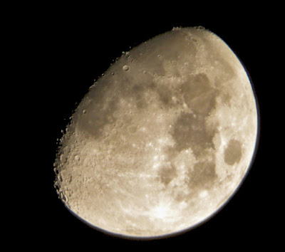 waxing gibbous moon through small telescope