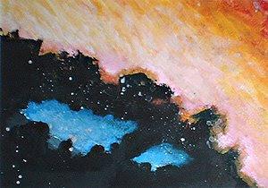 vulcano fuoco dipinti orme magiche quadro disegno pittura spirituale arte zen