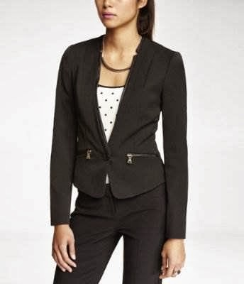 Express studio stretch reverse lapel zip pocket jacket