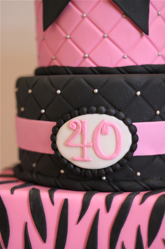 Pink Zebra 40th Birthday Cake