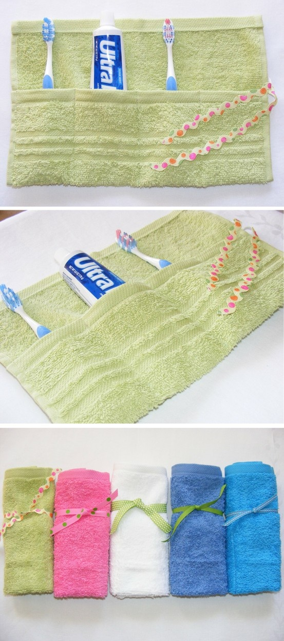Towel, toothbrush and paste Travel roll in spring DIY
