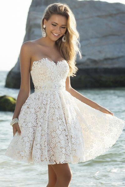 White Backless Long Sleeve Lace Flared Dress