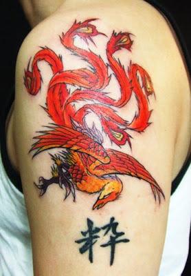 Tatuaje Ave Fénix estilo japonés
