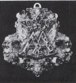 AA Pendant. Gold monogram pendant with inset gemstones