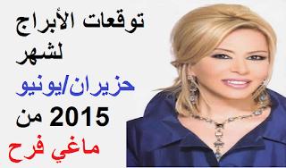 توقعات الأبراج لشهر حزيران/يونيو 2015 من ماغي فرح
