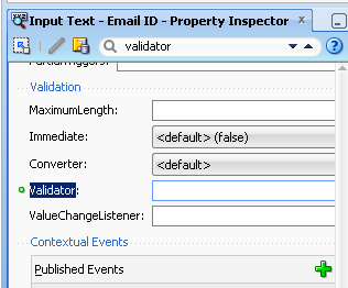 Create Validator method in managed bean