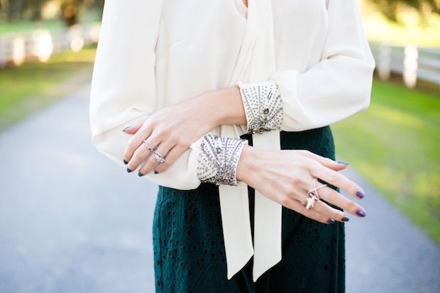 embellished cuff beaded white neck tie blouse winter white style green culottes eyelet pants wide leg trouser neck tie blouse the supper model best winter style best rising fashion bloggers