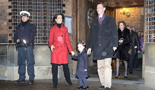 Queen Margrethe of Denmark and Prince Consort Henrik, Prince Joachim and Princess Marie of Denmark and their children Prince Henrik (the younger), Princess Athena