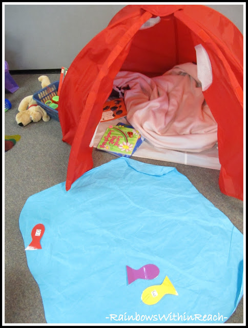 photo of: Preschool Camping Theme with tent and pond