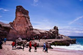 Visitindonesia; Klayar Beach Pacitan, A Beach Amongst Replica Of Spinx Statue