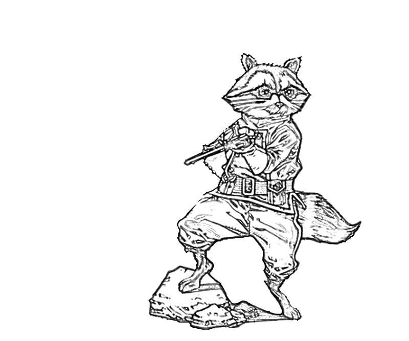printable rocket raccoon cartoon_coloring pages - Raccoon Coloring Pages