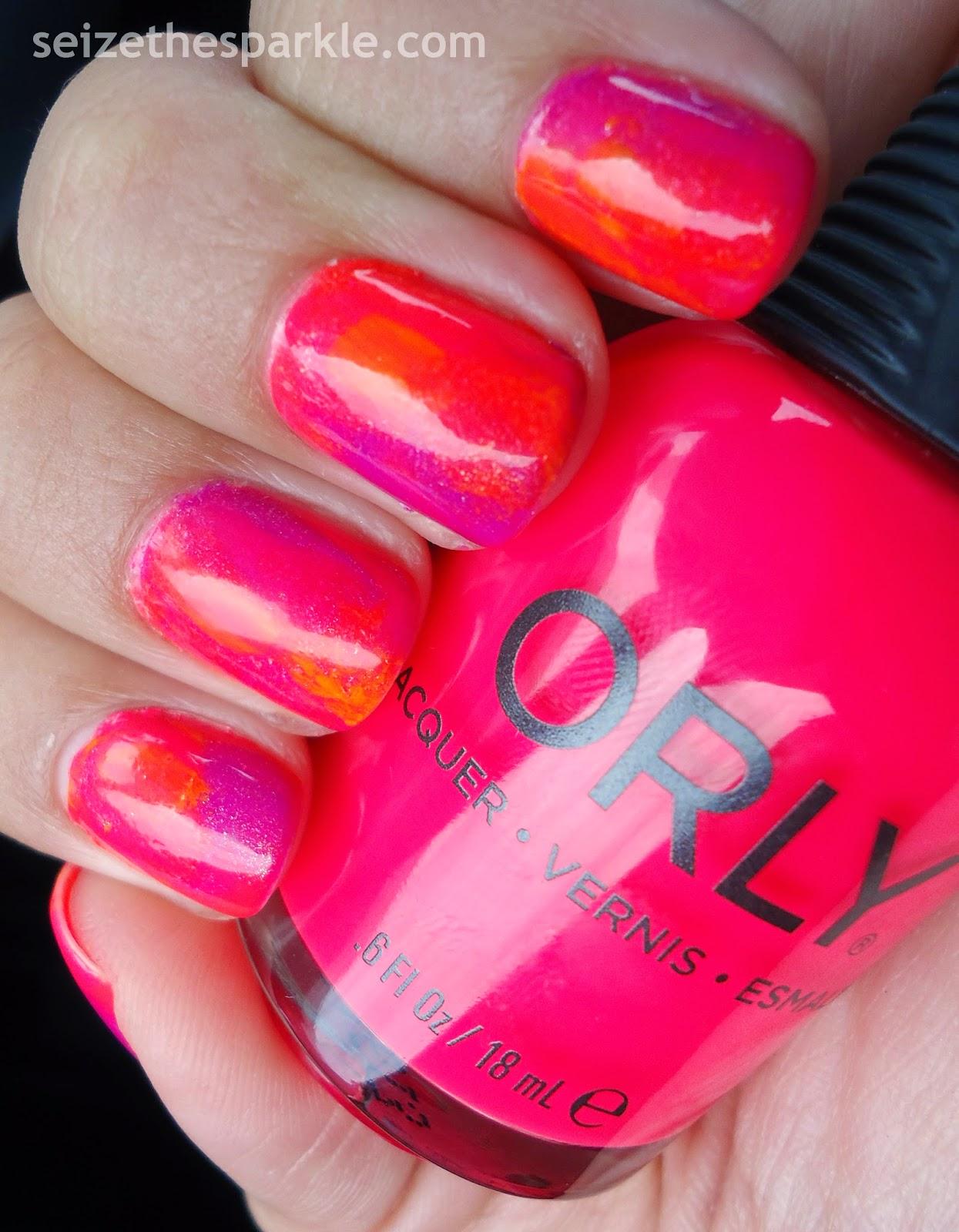 Neon Watercolor Manicure