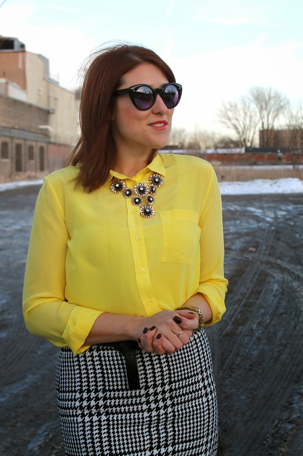 yellow, silk, blouse
