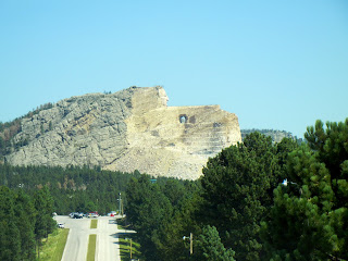 A free view of the Crazy Horse Memorial from the highway in South Dakota