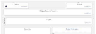Das Bild zeigt den Layout-Bereich von Blogger mit vorhandenem Navbar-Widget.