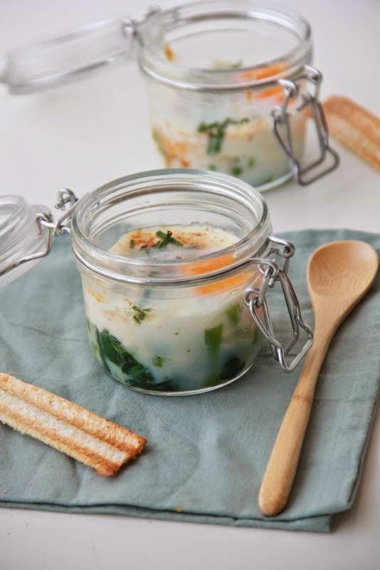 Oeufs en cocotte met lente groenten - www.desmaakvancecile.com