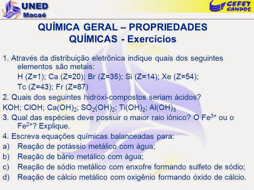 Exercícios de química 1 ano tabela periódica