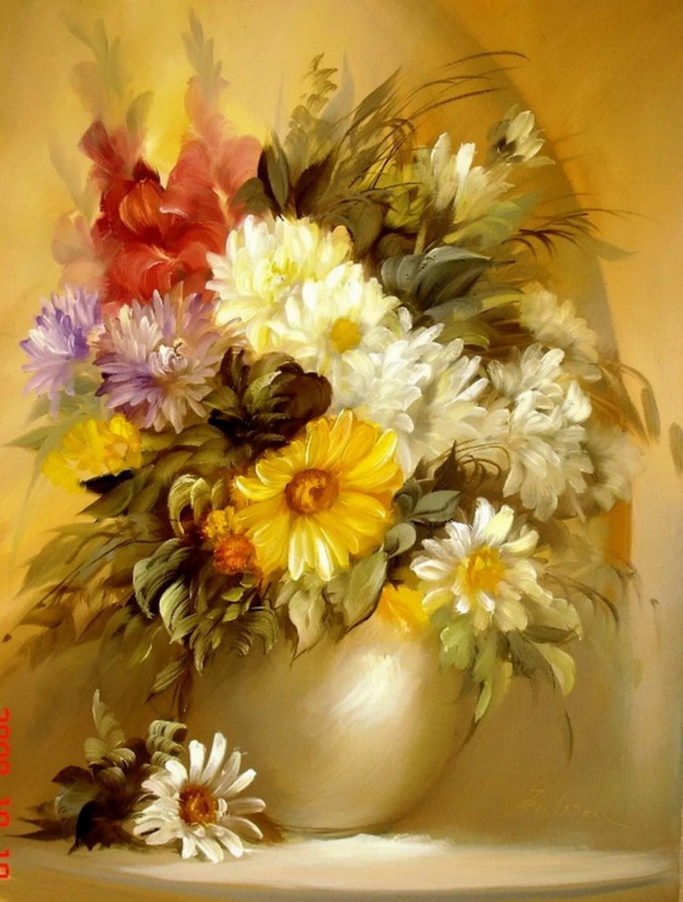 Im genes arte pinturas pinturas floreros decorativos al leo - Fotos jarrones con flores ...