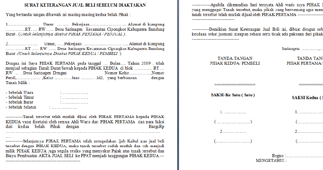 Agen Property Contoh Format Surat Jual Beli Tanah Sebelum