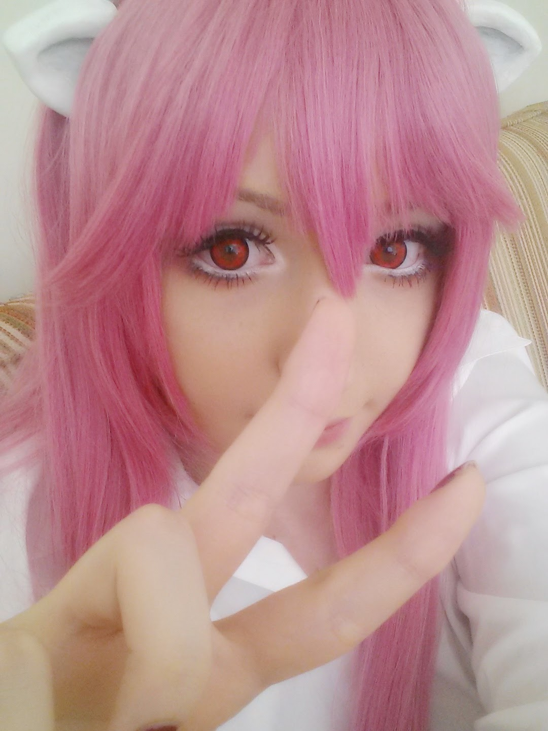 Nyu Cosplay Wig: Rose Pink Synthetic Hair Wig